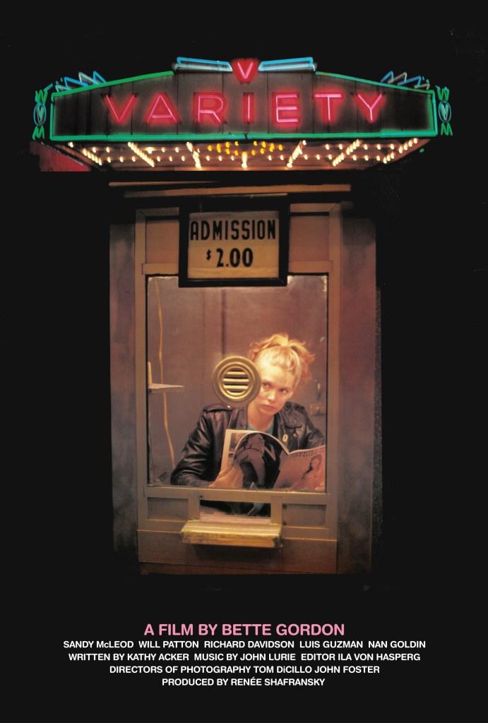 """Affiche du film Variety de Bette Gordon, sorti en 1983, qui a été sélectionné par le Festival Lumière dans la catégorie """"Trésors et Curiosités des archives"""""""